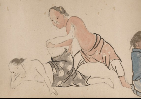 L0034590 Japanese Scroll, techniques for Physiotherapy Credit: Wellcome Library, London. Wellcome Images images@wellcome.ac.uk http://wellcomeimages.org Japanese Scoll Watercolour 19th Century Published: - Copyrighted work available under Creative Commons Attribution only licence CC BY 4.0 http://creativecommons.org/licenses/by/4.0/