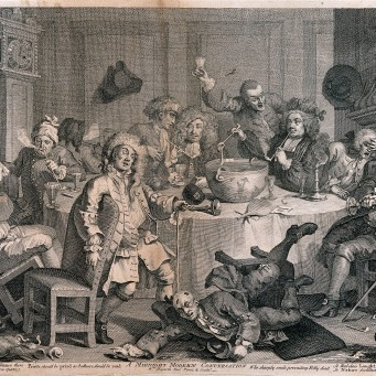 V0019474 A drunken party with men smoking, sleeping and falling to th Credit: Wellcome Library, London. Wellcome Images images@wellcome.ac.uk http://wellcomeimages.org A drunken party with men smoking, sleeping and falling to the floor. Engraving by W. Hogarth, 1731, after himself. 1731 By: William HogarthPublished: - Copyrighted work available under Creative Commons Attribution only licence CC BY 4.0 http://creativecommons.org/licenses/by/4.0/