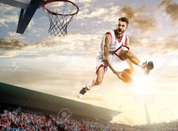 28629266-Basketball-player-in-action-on-background-of-sky-and-crowd-Stock-Photo
