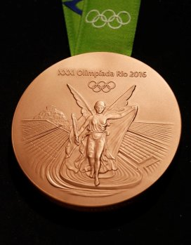 The Rio 2016 Olympic bronze medal is pictured during the medal launching ceremony in Rio de Janeiro