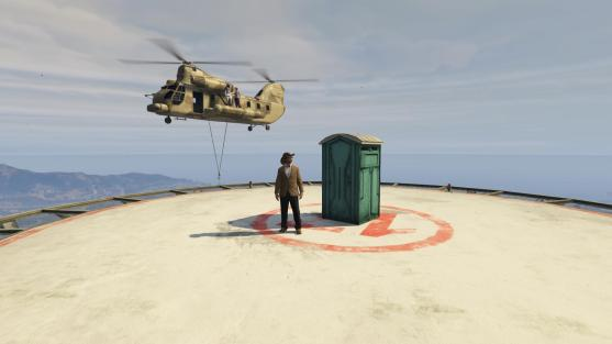 helicopter portaloo drop