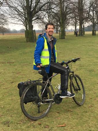 Bushy parkrun 13 jan 2018 lead bike