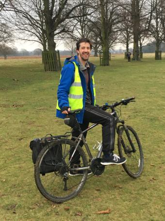 Bushy parkrun 13 jan 2018 lead bike