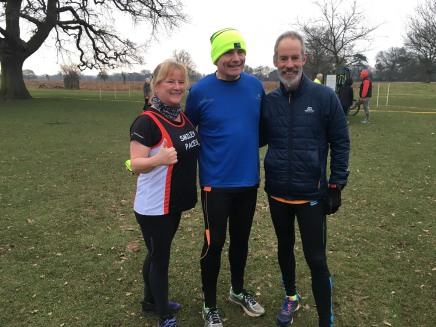 Bushy parkrun 13 jan 2018 Lucy and two pauls