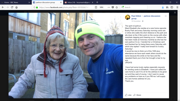 mum at bushy parkrun