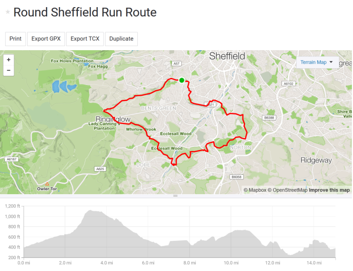 strava round sheffield run sheffield round walk route with elevation