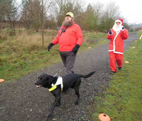 Chris and dog christmas day parkrun