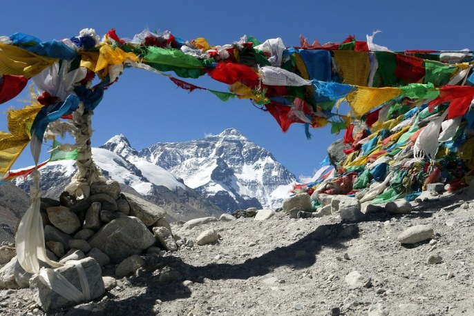 Everest base camp prayer flags