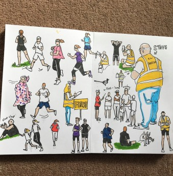 Caroline Parkinson drawing at parkrun
