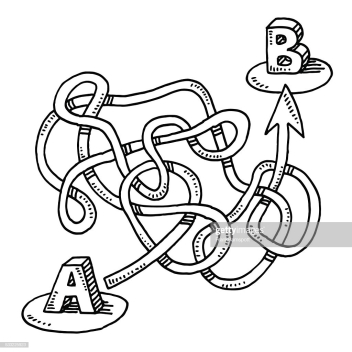 Hand-drawn vector drawing of a Circuitous Route from A to B with an Arrow. Black-and-White sketch on a transparent background (.eps-file). Included files are EPS (v10) and Hi-Res JPG.