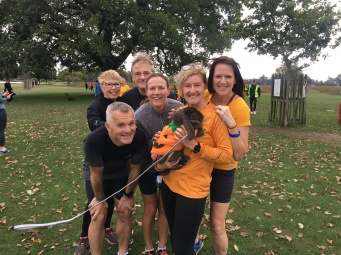 Peelie the rabbit at Bushy park parkrun